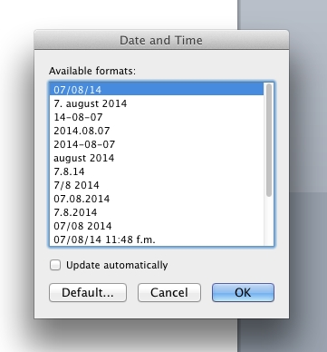 Insert date in Word for Mac