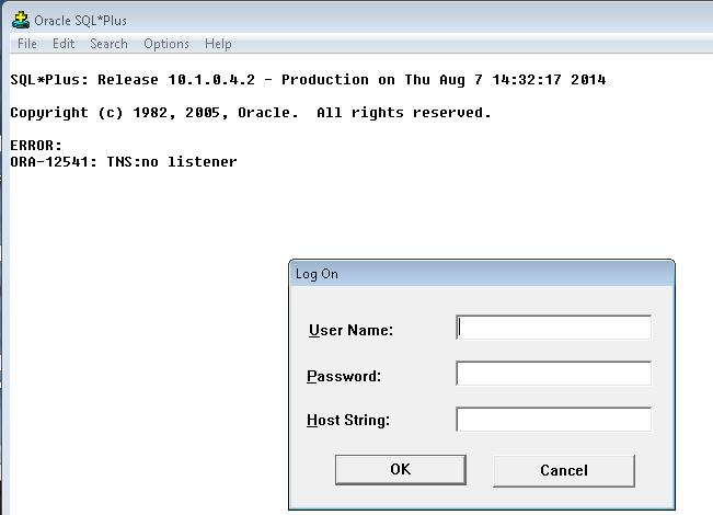 no listener Sql Plus windows