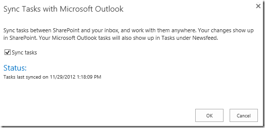 """In the """"Sync Tasks with Microsoft Outlook"""" modal dialog window, check the """"Sync tasks"""" option."""