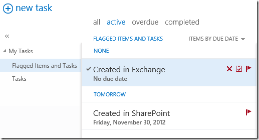 Now your Outlook account will include both Exchange and SharePoint tasks in the same view.