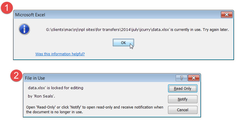 Annoying Message Quot Excel File Is Currently In Use Quot