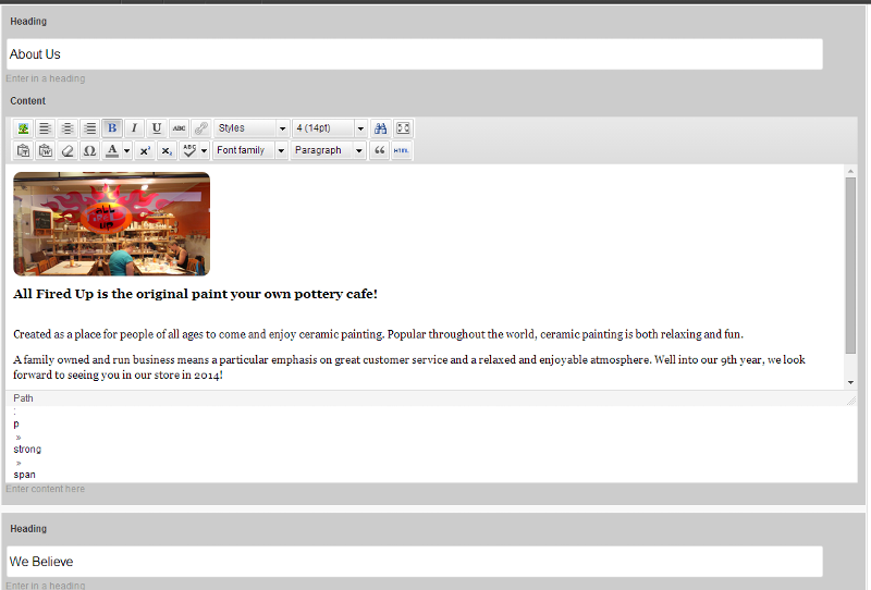Lower area of the Edit Page screen in WP 3.3.1 (wysiwyg editor present)
