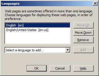 Delete unwanted languages and set your preferred one at the top