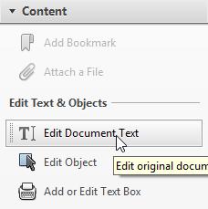 Edit document text