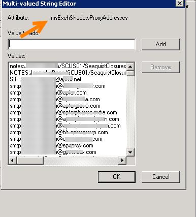 Exchange Attribute msExchShadowProxyAddresses