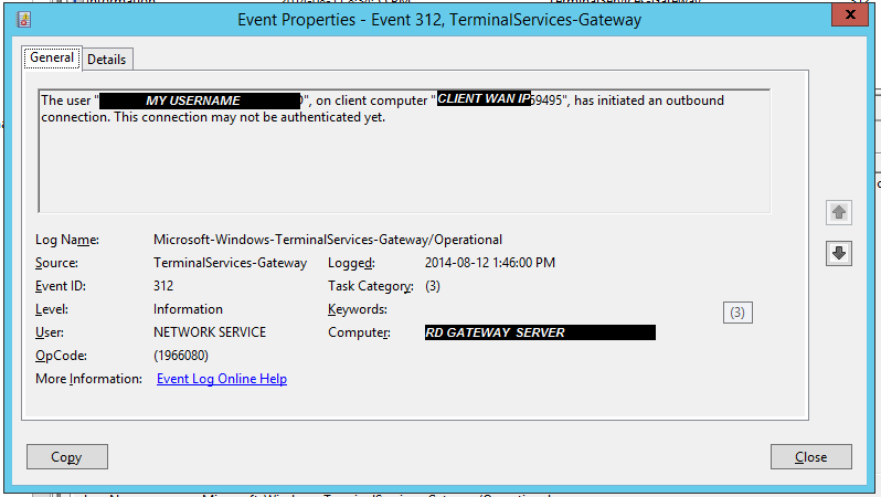 "Error in RD Gateway server's event log  under ""TerminalServices-Gateway"" section"