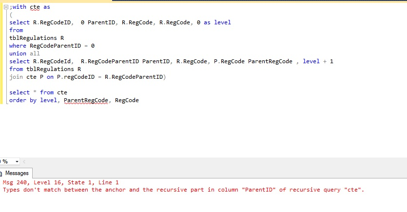 SQL Query to Order by Field Name with ID & ParentID in the same table