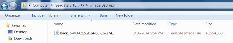 Backup Stored on the External HDD