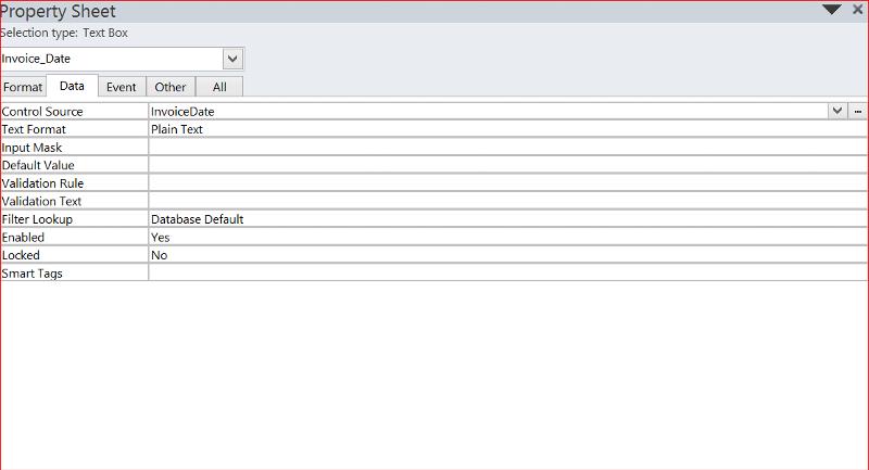 Properties Data Tab