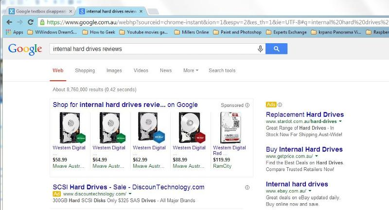 search results chrome
