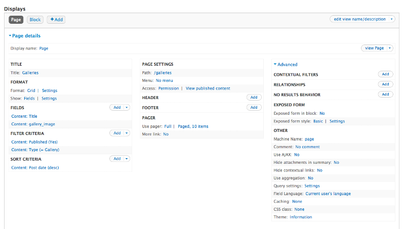 Screenshot of view Page settings
