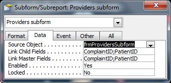 subform linking