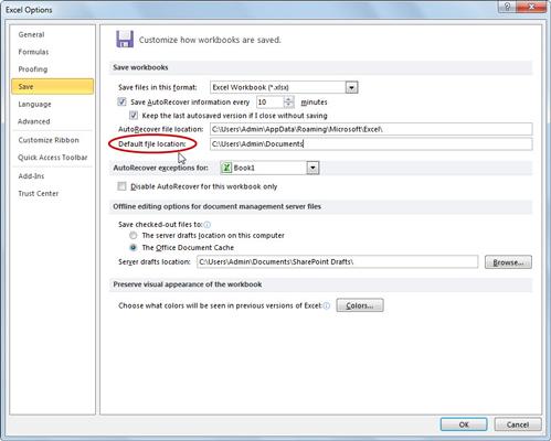 Excel Default Save Location