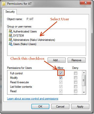 Windows 7 File Permissions