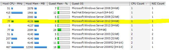 VM vCPu usage total