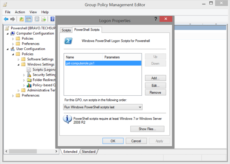 If you have a powershell scripts folder in group policy