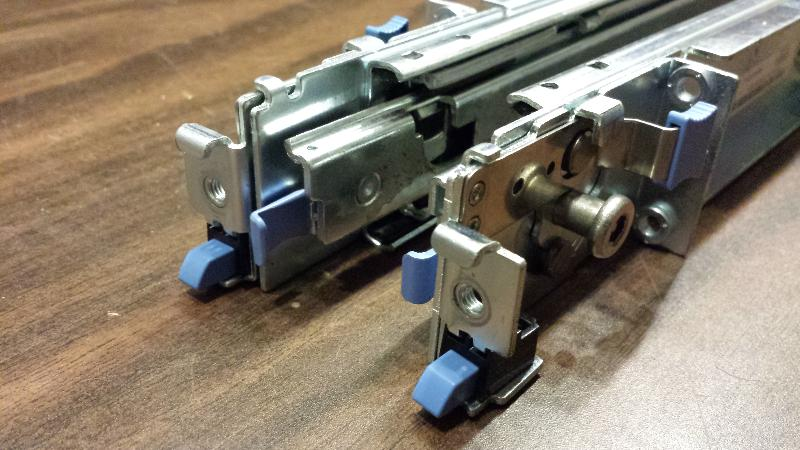 """Closeup of rails with """"rapid-attach"""" side out"""