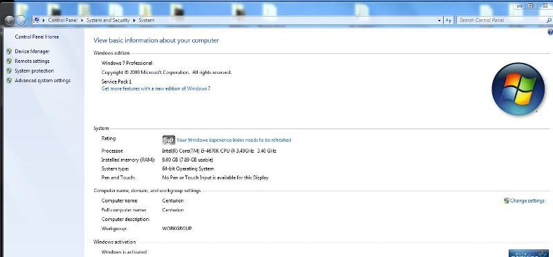 windows 7 experience on W7 x 64