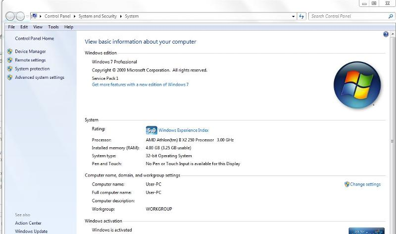 W7 x 32 Windows experience
