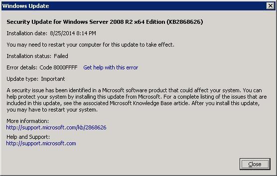 Windows Update Error Message