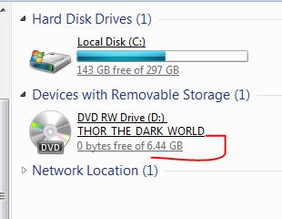 Thor DVD Disc Size 6. 44 gig