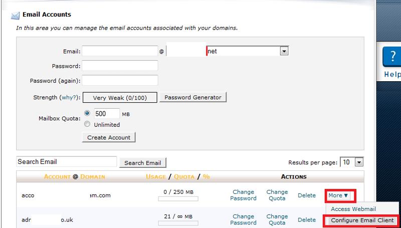 cPanel configure email client