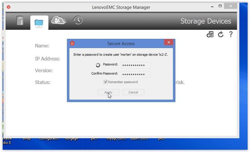 Lenovo EMC start screen. Not many options here