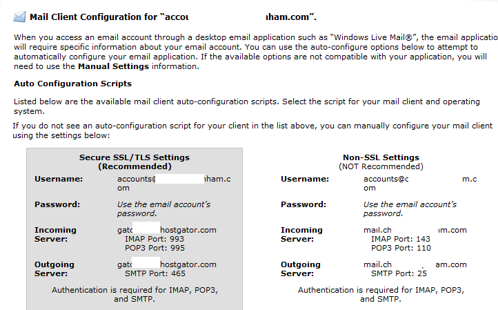 cPanel email client settings