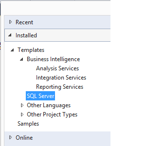 New Projects in Visual Studio 2013 with SSDT installed