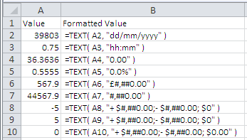 Examples of correct syntaxes (http://www.excelfunctions.net/Excel-Text-Function.html)