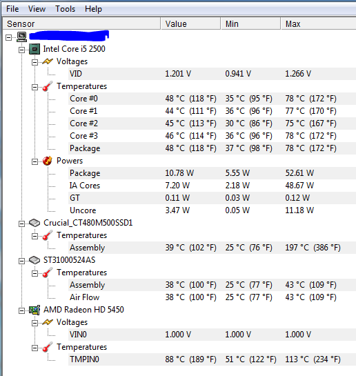 Screen shot of my computer temprature ranges