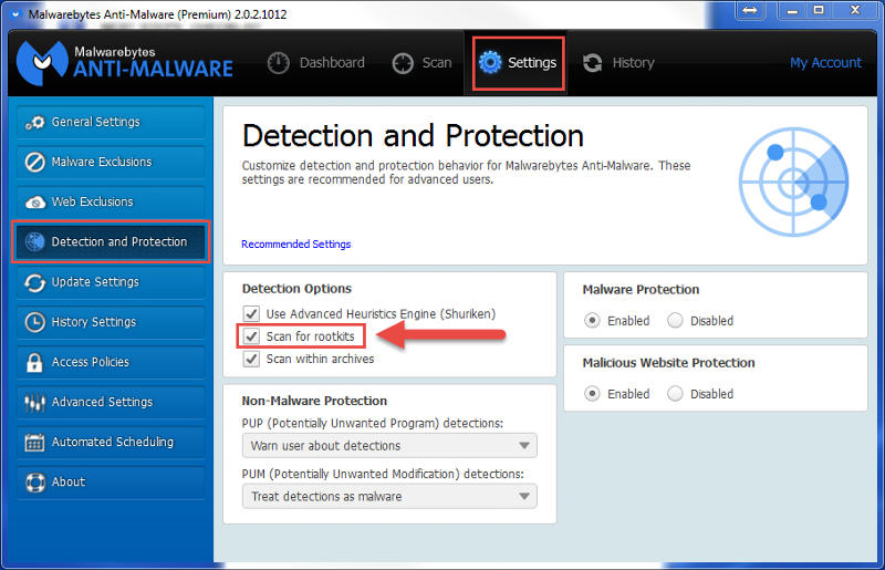 Malwarebytes Antimalware checkbox for scanning rootkits