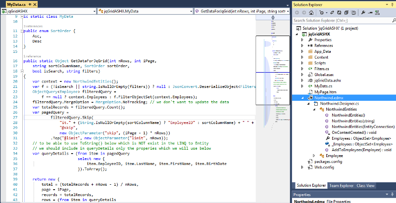 my Northwind.edmx model in Visual Studio 2010 Solution Explorer