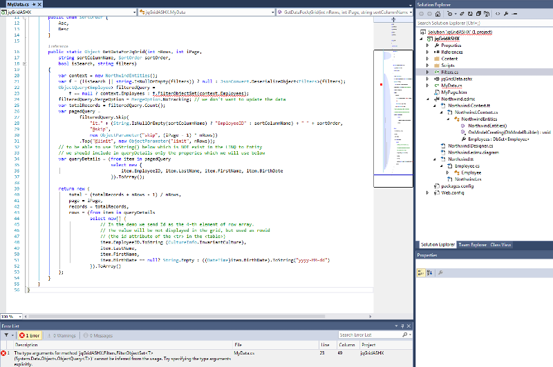 my Northwind.edmx model in Visual Studio 2013 Solution Explorer