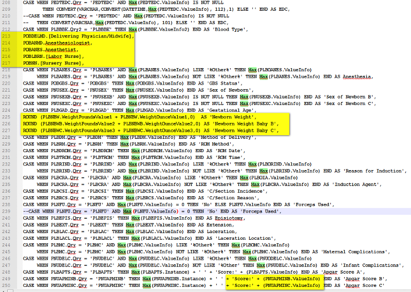 MAX() is missing where highlighted
