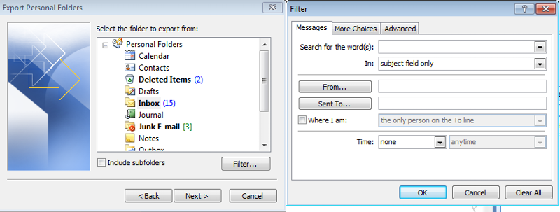 Filters while exporting PST File