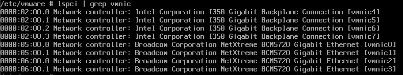 Output from lspci | grep vmnic