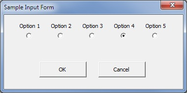 sample form with labels over option buttons