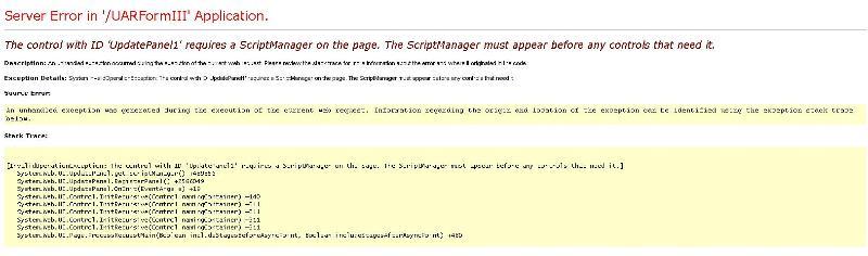 script manager error