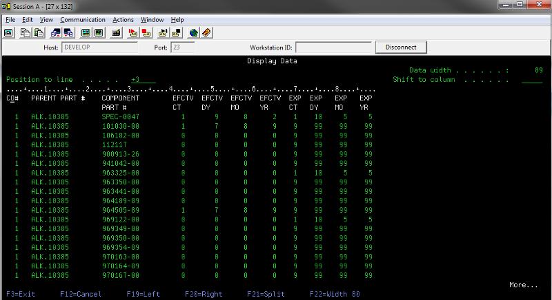 data screen