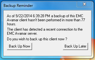Avamar Missed Backup Notification