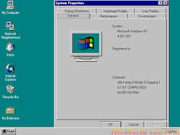 Windows NT 4; System Properties Page