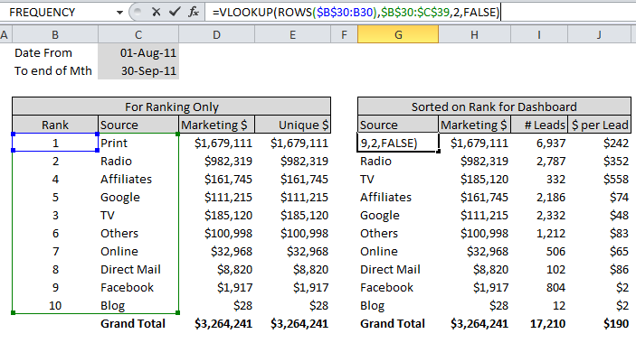 Vlookup and rows