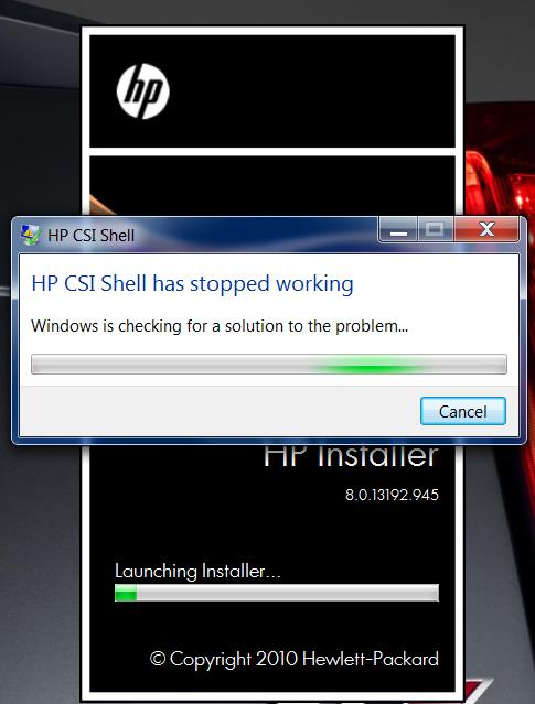 HP CSI Shell has stopped working