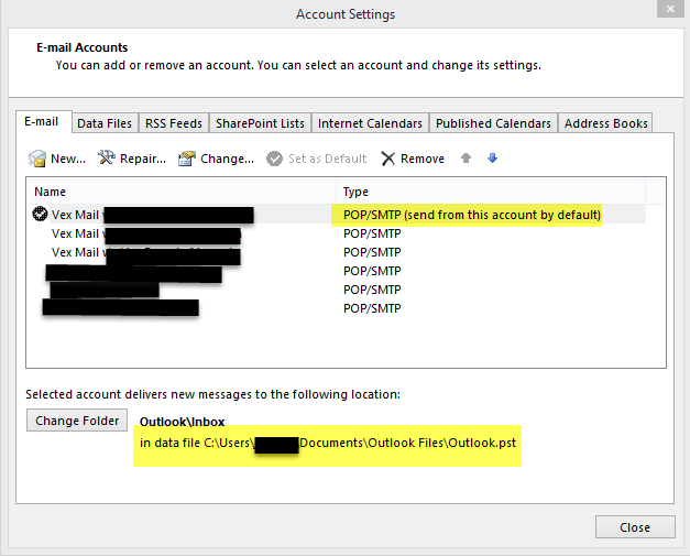 Outlook-2013-Default-Account