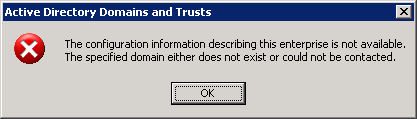 Active Directory Domains and Trusts error
