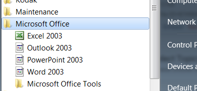 Icons from the Start Menu for Office 2003