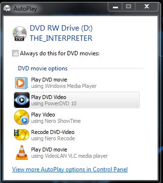 Auto Play for DVD ask me