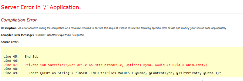 error stack trace