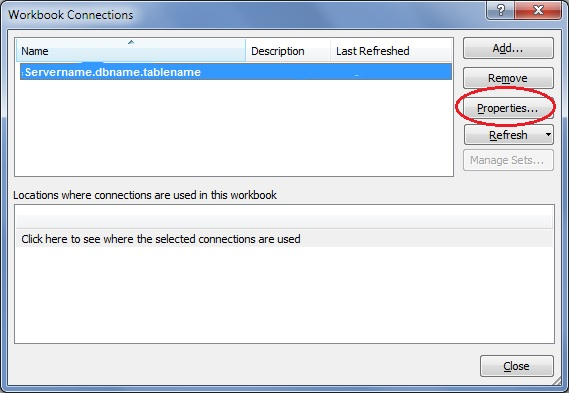 Workbook Connections dialog